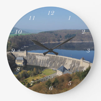 Edersee concrete dam in the spring large clock