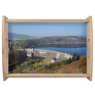 Edersee concrete dam in the spring serving tray