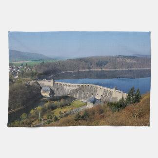 Edersee concrete dam in the spring tea towel