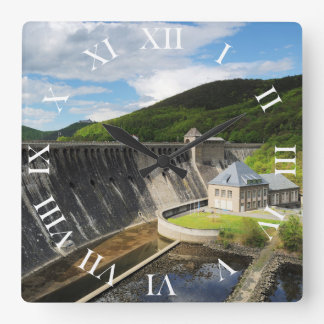 Edersee concrete dam with closed forest-hits a square wall clock