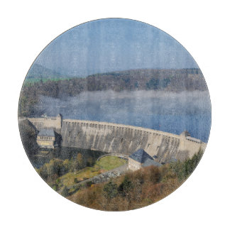 Edersee concrete dam with fog cutting board