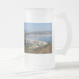Edersee concrete dam with fog frosted glass beer mug