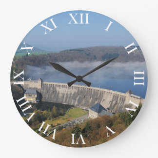 Edersee concrete dam with fog large clock