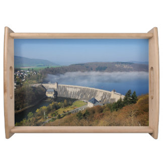 Edersee concrete dam with fog serving tray