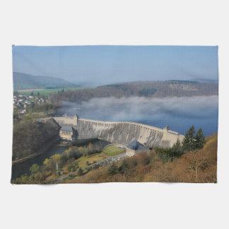 Edersee concrete dam with fog tea towel