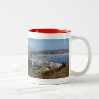 Edersee concrete dam with fog Two-Tone coffee mug