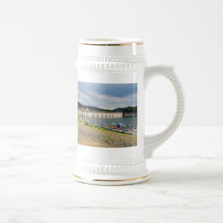 Edersee concrete dam with low water beer stein