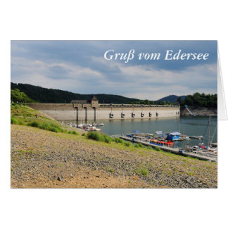 Edersee concrete dam with low water card
