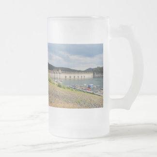 Edersee concrete dam with low water frosted glass beer mug