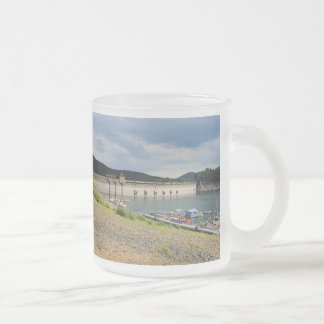 Edersee concrete dam with low water frosted glass coffee mug