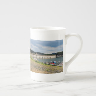 Edersee concrete dam with low water tea cup