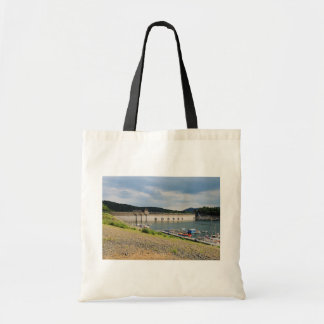 Edersee concrete dam with low water tote bag