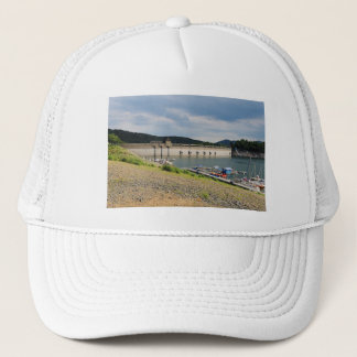 Edersee concrete dam with low water trucker hat