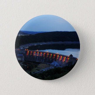 Edersee lit up concrete dam in the evening 6 cm round badge