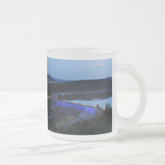 Edersee lit up concrete dam in the evening frosted glass coffee mug