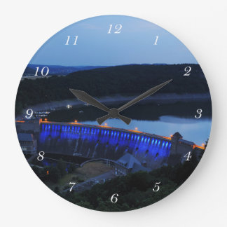 Edersee lit up concrete dam in the evening large clock