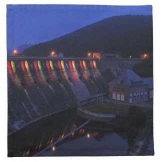Edersee lit up concrete dam in the evening napkin