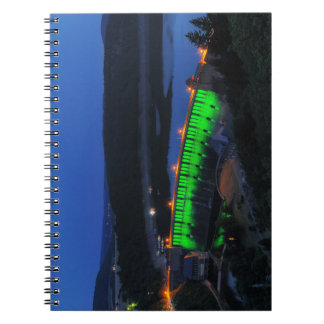 Edersee lit up concrete dam in the evening notebooks