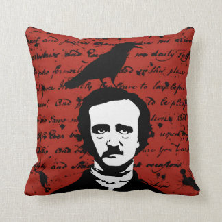 Edgar Allan Poe and Black Raven on Red Cushion