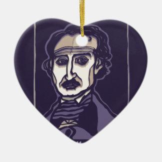 Edgar Allan Poe by FacePrints Ceramic Heart Decoration