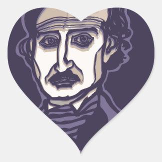 Edgar Allan Poe by FacePrints Heart Sticker