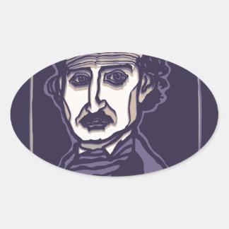 Edgar Allan Poe by FacePrints Oval Sticker