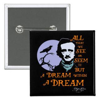 Edgar Allan Poe Dream Within A Dream Quote 15 Cm Square Badge