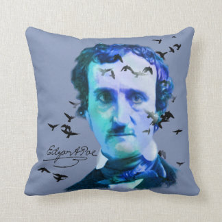 Edgar Allan Poe in Shades of Blue with Ravens Cushion