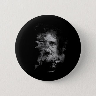 Edgar Allan Poe in Smoke with Raven 6 Cm Round Badge