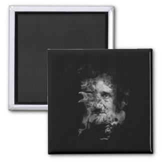 Edgar Allan Poe in Smoke with Raven Magnet