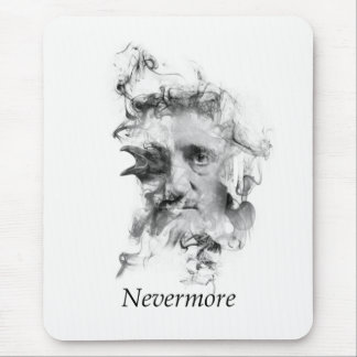 Edgar Allan Poe in Smoke with Raven - Nevermore Mouse Pad