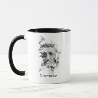 Edgar Allan Poe in Smoke with Raven - Nevermore Mug