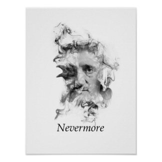 Edgar Allan Poe in Smoke with Raven - Nevermore Poster