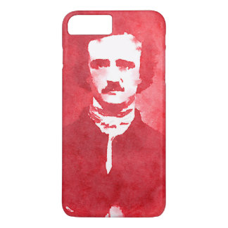 Edgar Allan Poe Pop Art Portrait in red iPhone 7 Plus Case