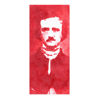 Edgar Allan Poe Pop Art Portrait in red Rack Cards