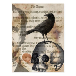 Edgar Allan Poe The Raven Skull and BIrd Postcards