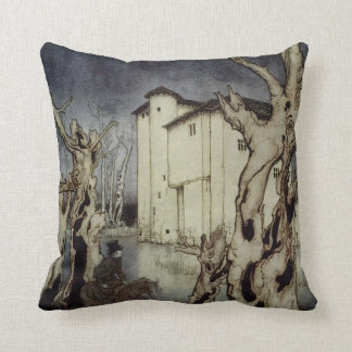 Edgar Allan Poe Usher painting by Arthur Rackham Cushion