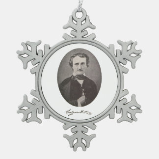 Edgar Allan Poe with Signature Snowflake Pewter Christmas Ornament