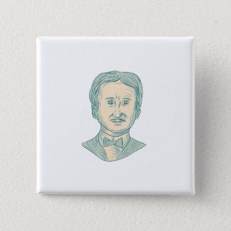 Edgar Allan Poe Writer Drawing 15 Cm Square Badge
