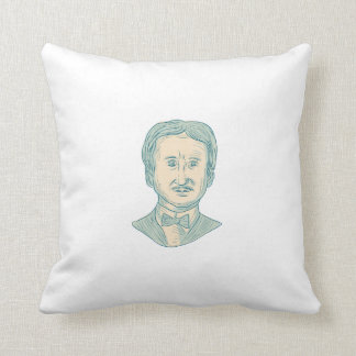 Edgar Allan Poe Writer Drawing Cushion