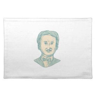 Edgar Allan Poe Writer Drawing Placemat