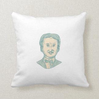 Edgar Allan Poe Writer Drawing Throw Pillow