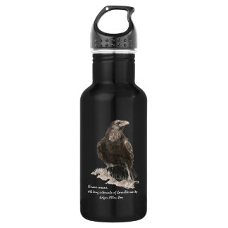 Edgar Allen Poe Insanity Quote Watercolor Raven 532 Ml Water Bottle