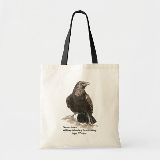 Edgar Allen Poe Insanity Quote Watercolor Raven Canvas Bags