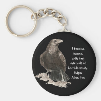 Edgar Allen Poe Insanity Quote Watercolor Raven Basic Round Button Key Ring