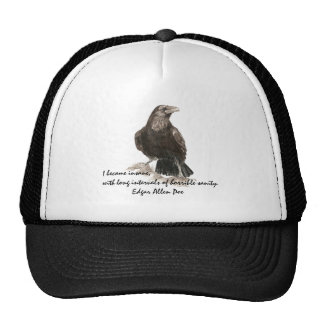 Edgar Allen Poe Insanity Quote Watercolor Raven Cap