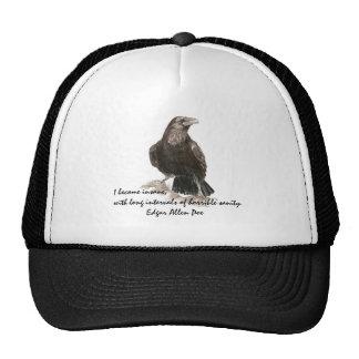 Edgar Allen Poe Insanity Quote Watercolor Raven Cap