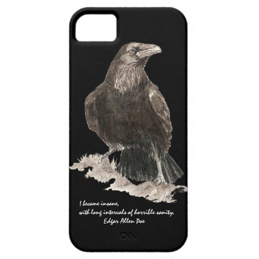 Edgar Allen Poe Insanity Quote Watercolor Raven iPhone 5 Cover