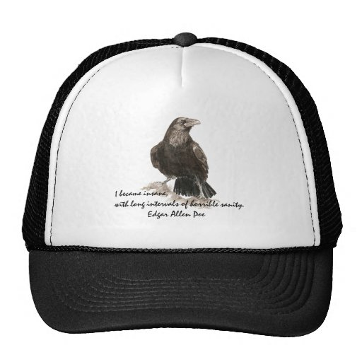 Edgar Allen Poe Insanity Quote Watercolor Raven Hats