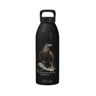 Edgar Allen Poe Insanity Quote Watercolor Raven Water Bottles